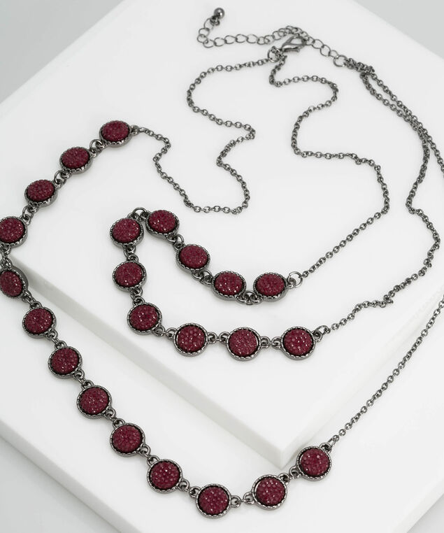 Double Strand Caviar Statement Necklace, Hematite/Burgundy, hi-res