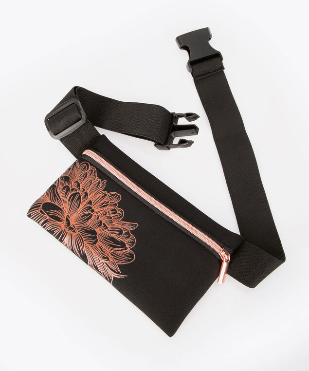 Fitness Belt Pouch, Black/Rose Gold, hi-res