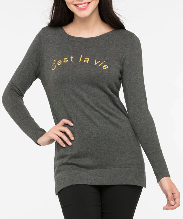 """C'est la vie"" Boat Neck Sweater, Heathered Charcoal/Mustard, hi-res"
