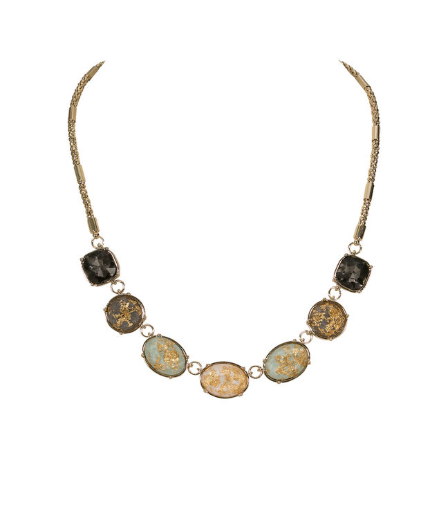 Faceted Stone & Gold Leaf Necklace, Mint/Grey/Soft Gold, hi-res