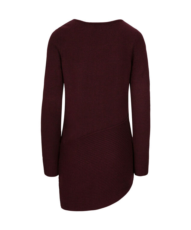 Asymmetrical Ribbed Pullover, Wine, hi-res