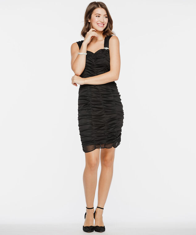 Sleeveless Sweetheart Neck Ruched Dress, Black, hi-res