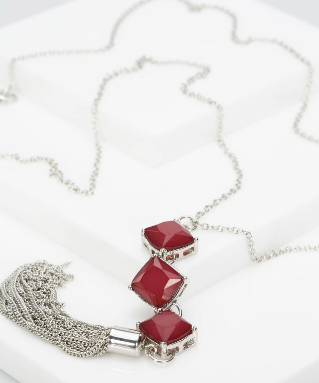 Stacked Faceted Stone & Tassel Necklace, Burgundy/Rhodium, hi-res