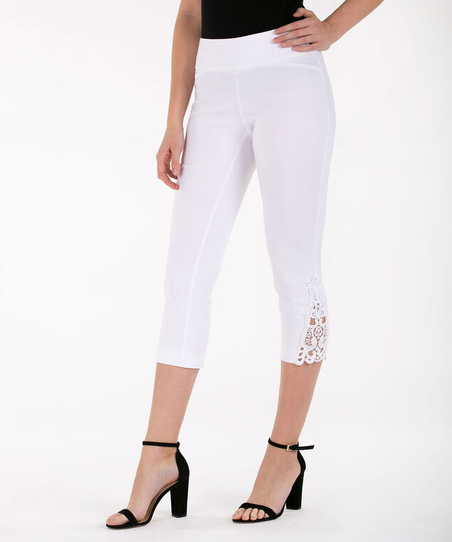 Crochet Trim Microtwill Capri, True White, hi-res