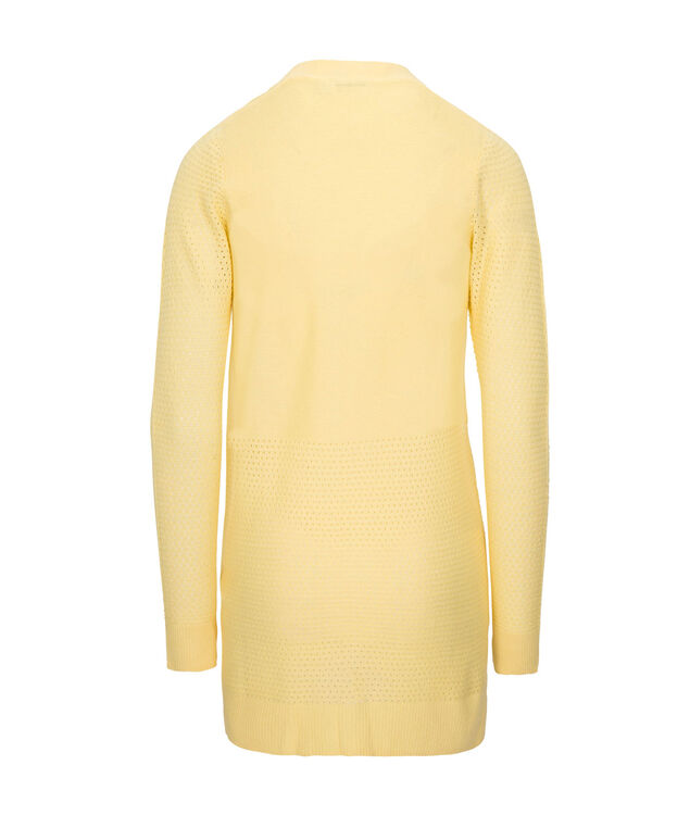 Perforated Ribbed Open Cardigan, Soft Yellow, hi-res
