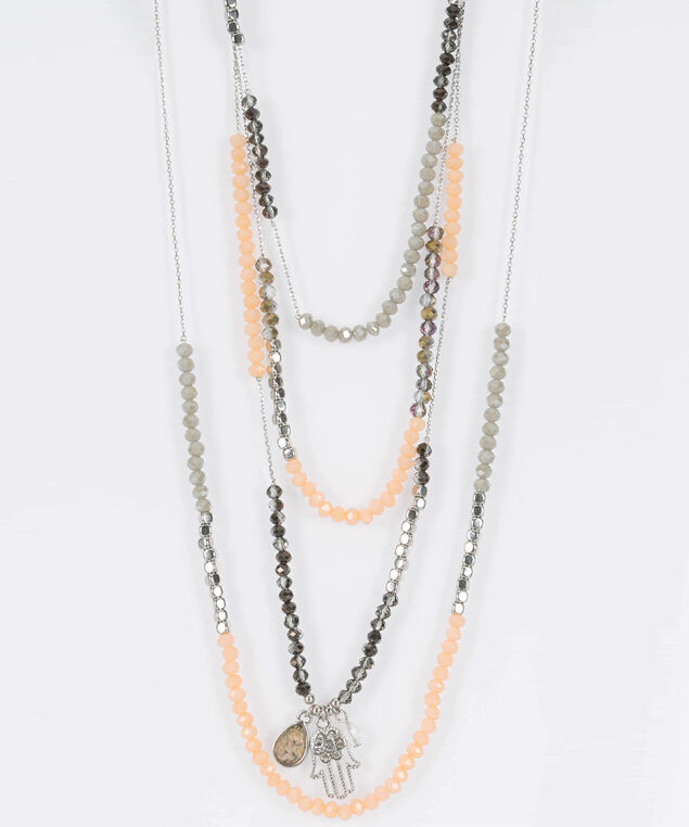 Multi Row Bead & Charm Necklace, Cameo Pink/Rhodium/Light Heathered Grey, hi-res