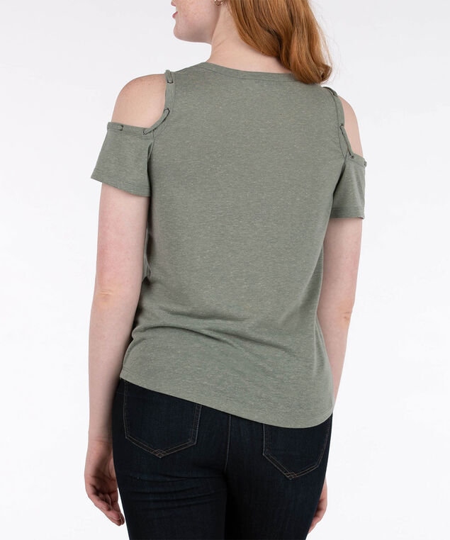 Lace-Up Trim Cold Shoulder Top, Light Sage, hi-res