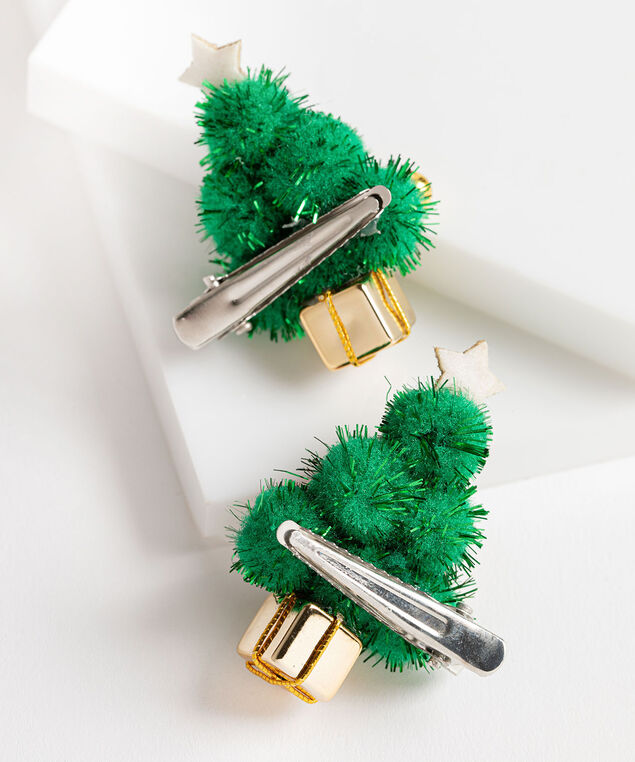 Holiday Tree Hair Clips, Green/Gold/Red, hi-res