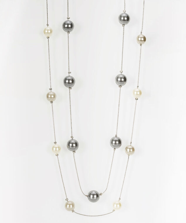 Multi Row Stationed Bead Necklace, Rhodium/Light Heathered Grey, hi-res