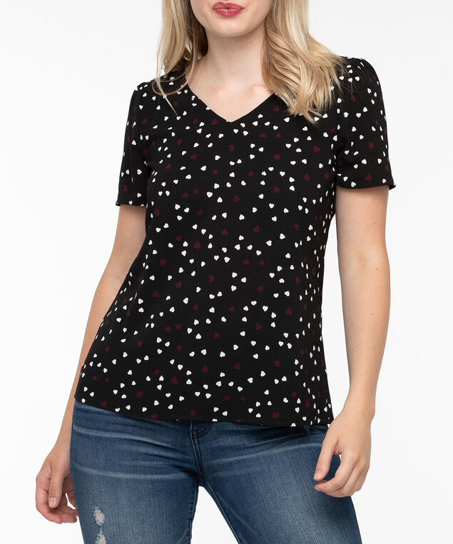 Short Sleeve V-Neck Blouse, Black/Plum/Pearl, hi-res