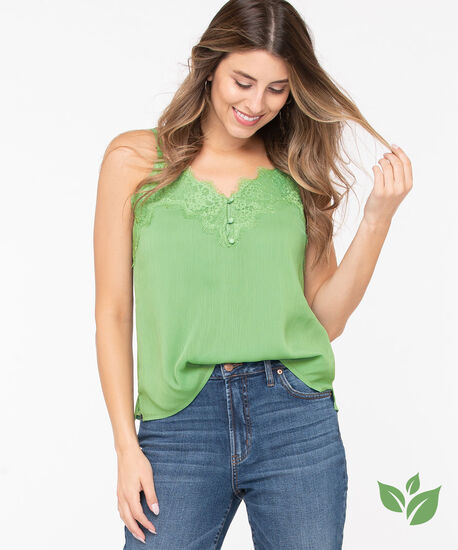 Eco-Friendly Strappy Lace Trim Cami, Leaf Green, hi-res