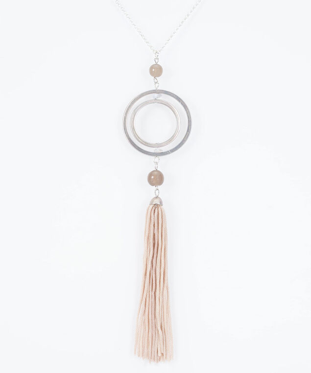Double Ring & Tassel Pendant Necklace, Rhodium/Petal Pink/Grey, hi-res