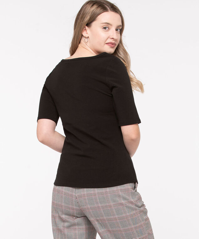 Elbow Sleeve Boat Neck Tee, Black