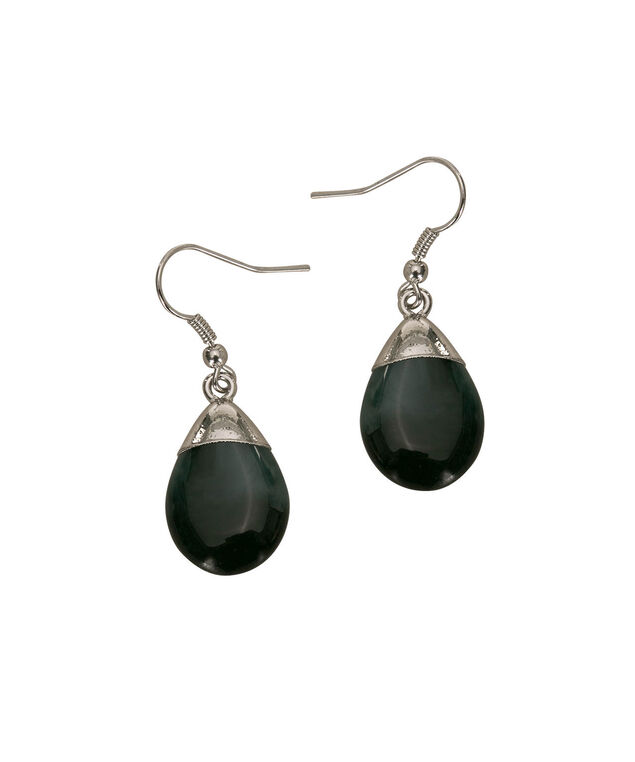 Marbled Teardrop Earring, Grey/Black/Rhodium, hi-res