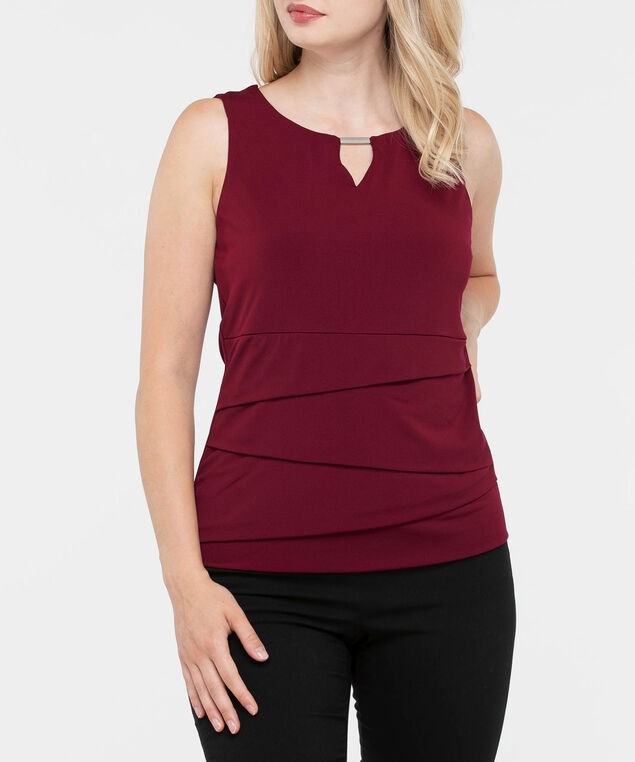 Sleeveless Tiered Keyhole Top, Burgundy, hi-res
