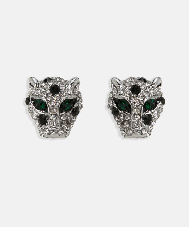 Crystal Panther Earring, Black/Rhodium/Deep Green, hi-res