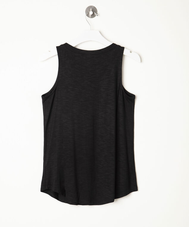 Sleeveless V-Neck Tank Top, Black, hi-res