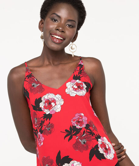 Reversible Strappy Layered Tank Blouse, Hibiscus/Blossom/Black, hi-res