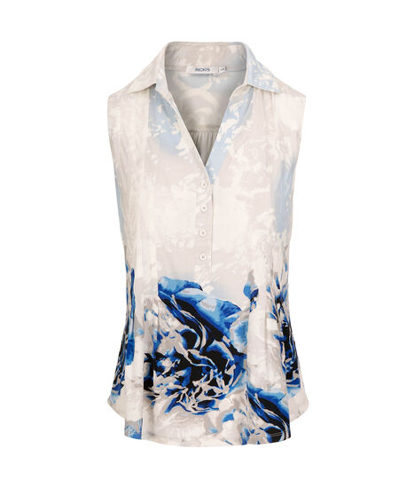Sleeveless Collared Top, Pearl/Mid Blue, hi-res