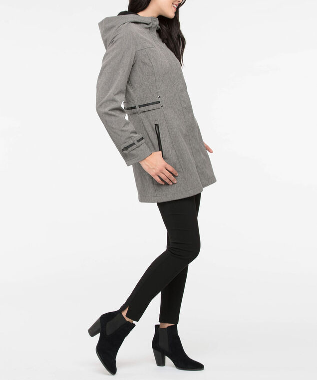 Hooded Grosgrain Trim Soft Shell Jacket, Grey/Black, hi-res