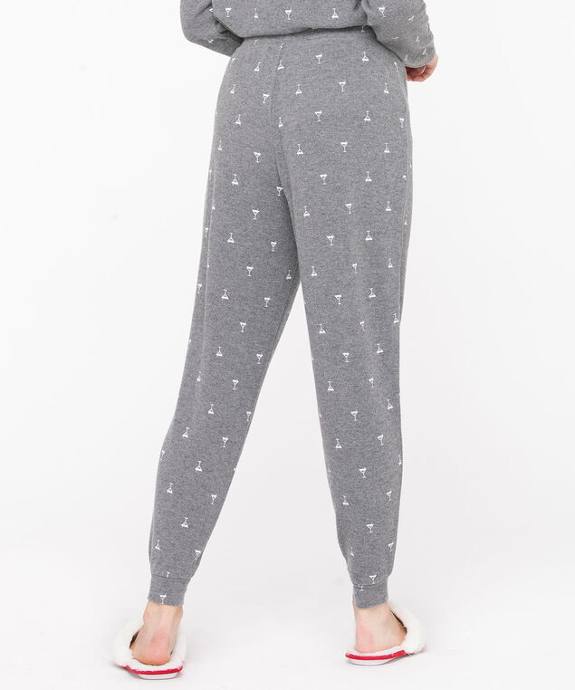 Printed Jogger Pajama Bottoms, Grey/White Martinis