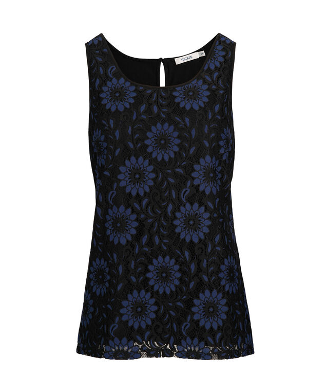 Sleeveless Crochet Overlay Top, Black/Cobalt, hi-res