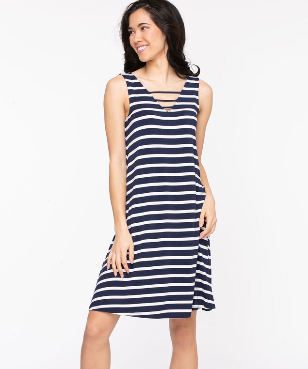 Ladder Trim Swing Dress, Stripe