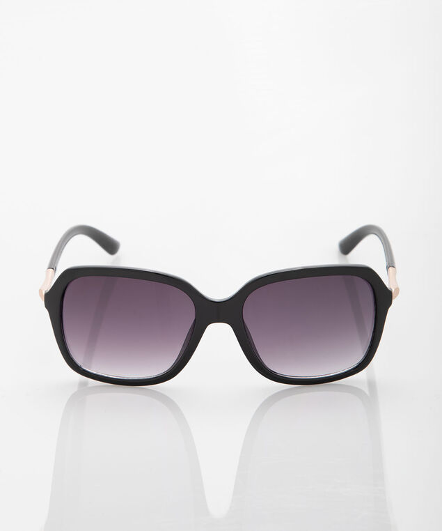 Black Square Sunglasses, Black/Rose Gold, hi-res
