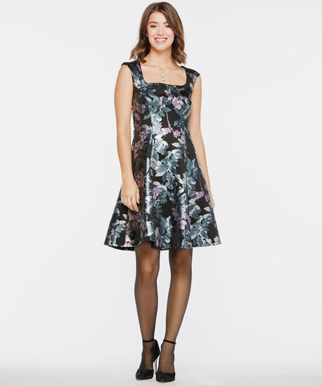 Square Neck Foil Print Fit & Flare Dress, Black/Teal/Dusty Blush, hi-res