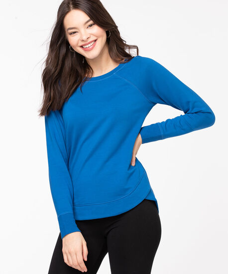 French Terry Curved Hem Pullover, Classic Blue, hi-res