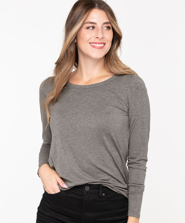 Scoop Neck Layering Essential Top, Mid Heather Grey, hi-res