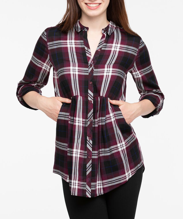Roll Sleeve Collared Plaid Blouse, Burgundy/Pearl/Deep Sapphire, hi-res
