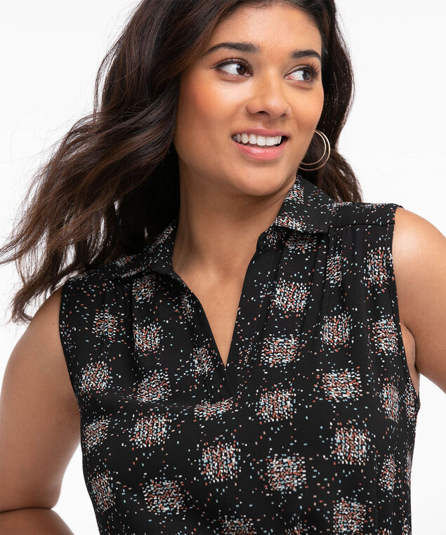 Eco-Friendly Sleeveless Belted Tunic Blouse, Clustered Dot