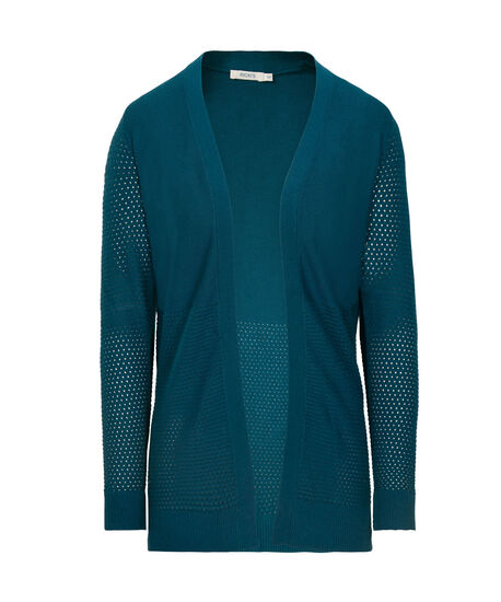 Perforated Ribbed Open Cardigan, Midnight Teal, hi-res