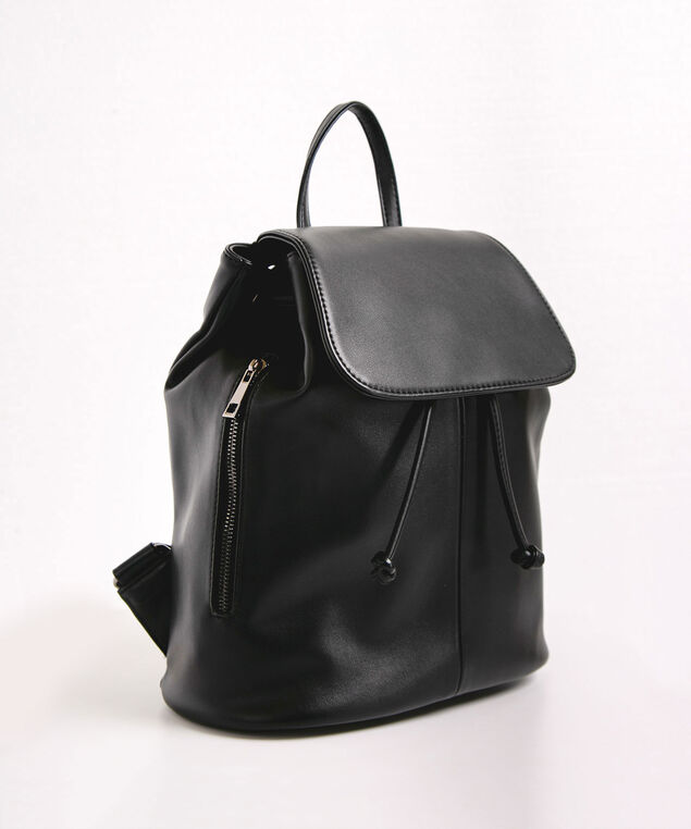 Slouchy Drawstring Backpack, Black, hi-res