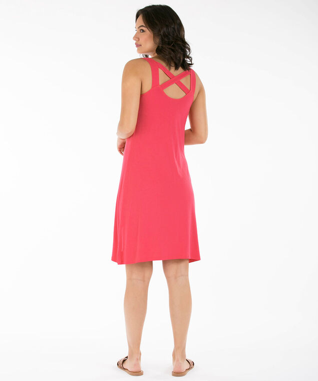Criss-Cross Trapeze Dress, Coral, hi-res