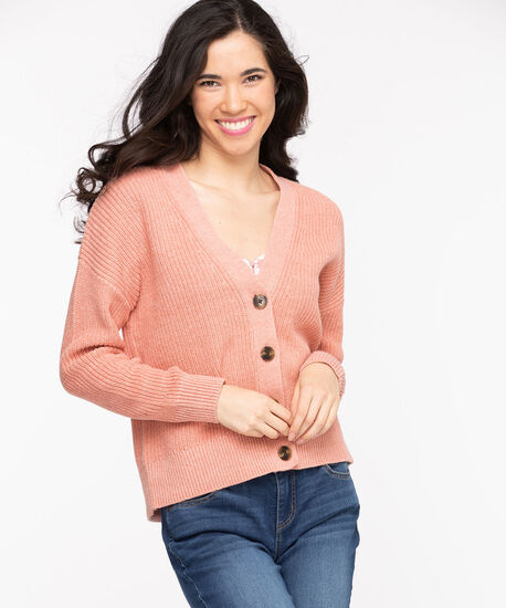 Ribbed Knit Button Front Cardigan, Rosette, hi-res