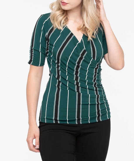 Ruched Wrap Front Knit Top, Ivy/Black/Pearl, hi-res