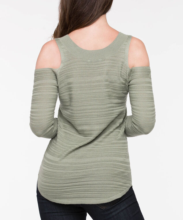 V-Neck Cold Shoulder Sweater, Light Sage, hi-res