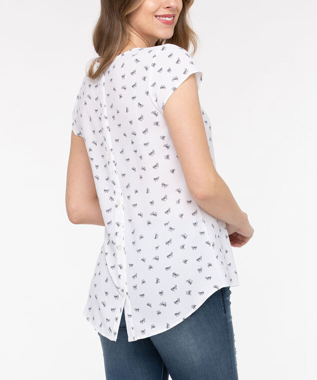 Short Sleeve Button Back Blouse, Pearl/Black, hi-res