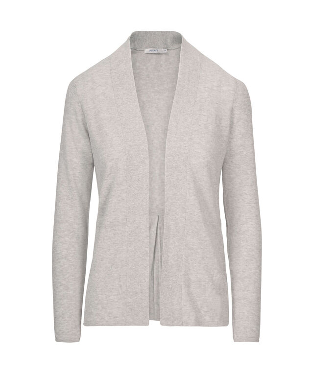 Pleat Back Open Cardigan, Grey, hi-res