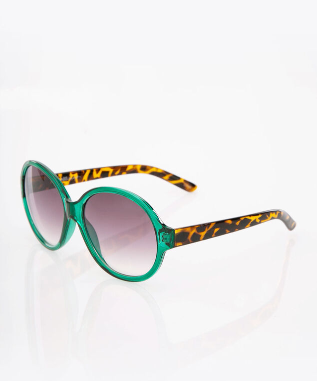 Tortoise Shell Round Sunglasses, Green/Brown, hi-res