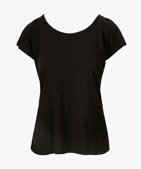 Pintuck Keyhole Back Top, Black, hi-res