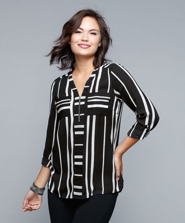 Roll Sleeve Zip Detail Blouse, Black/White, hi-res