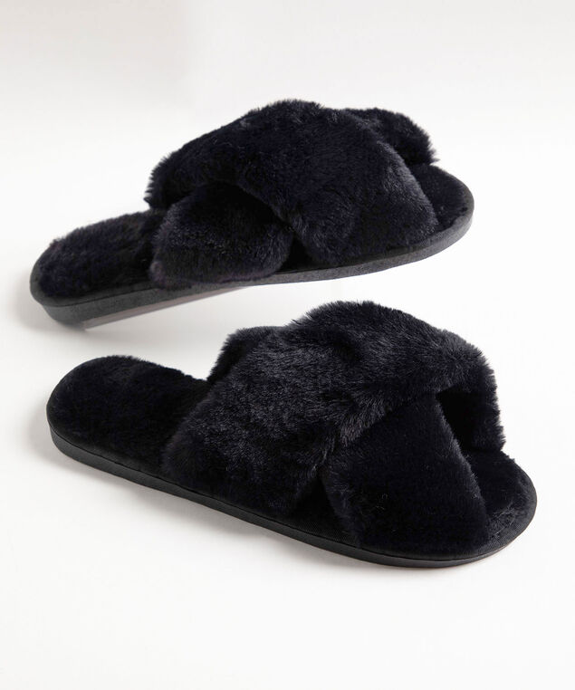 Criss Cross Fluffy Plush Slipper, Black
