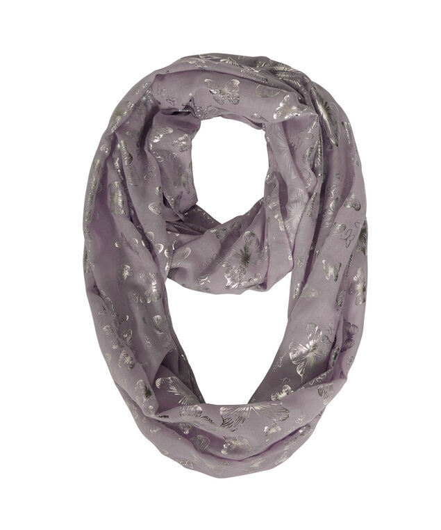 Silver Foil Butterful Eternity Scarf, Iced Violet/Silver, hi-res