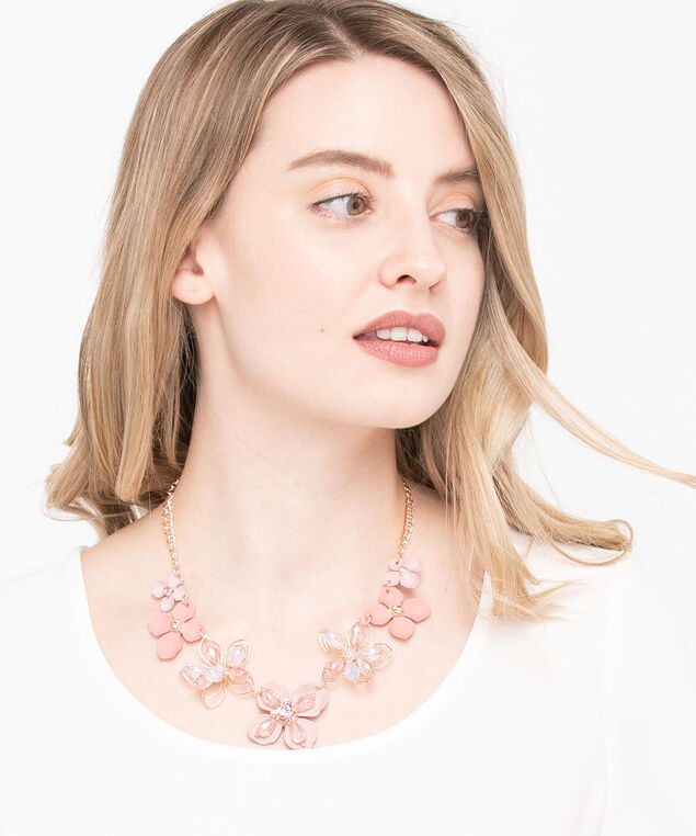 Painted Flower & Crystal Necklace, Rose Petal/Rose Gold, hi-res
