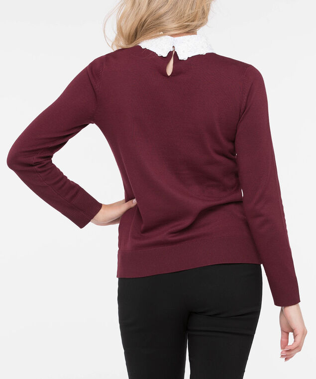 Pearl Collared Pullover Sweater, Burgundy/Pearl, hi-res