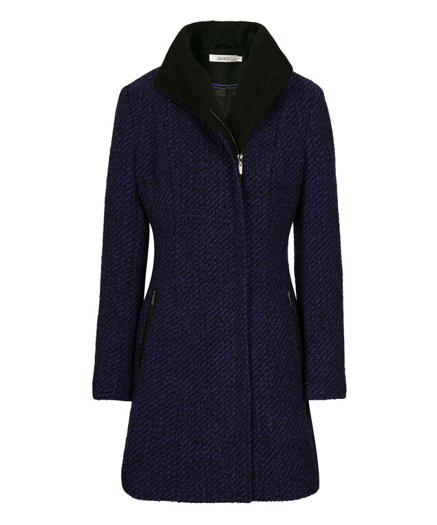 Boucle Twill Funnel Neck Coat, Cobalt/Black, hi-res