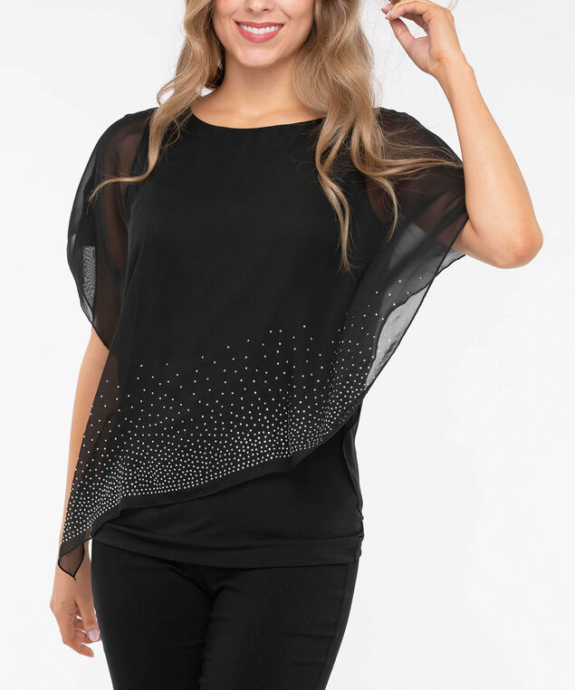 Rhinestone Cold Shoulder Cape Overlay Top, Black, hi-res